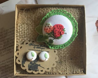 strawberry patch up cycled brooch and earring set