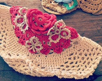 vintage barrette hair clip in crochet red and oatmeal
