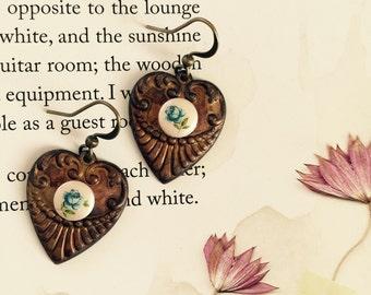 vintage heart drop earrings with japanese flowers