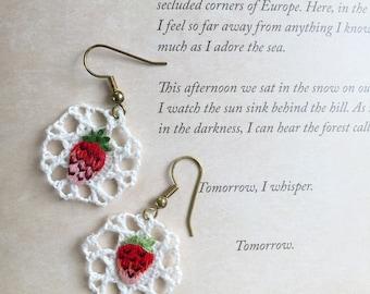 strawberry lace crochet drop earrings