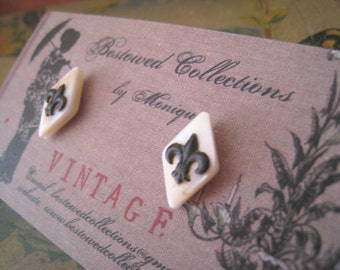 fleur de lis mother of pearl french diamond stud earrings