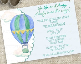Hot Air Balloon Watercolor Baby Shower Invitation Boy Blue and Green Personalized Digital Printable DIY Professional Printing Option