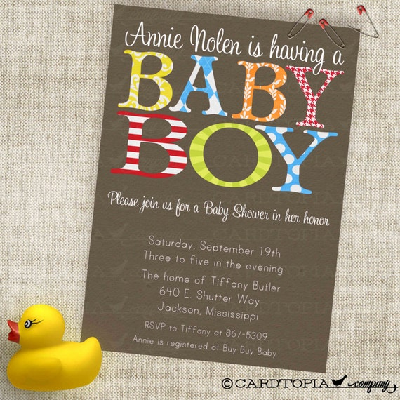 Very Boy Baby Shower Invitation in Trendy Patterns with Red