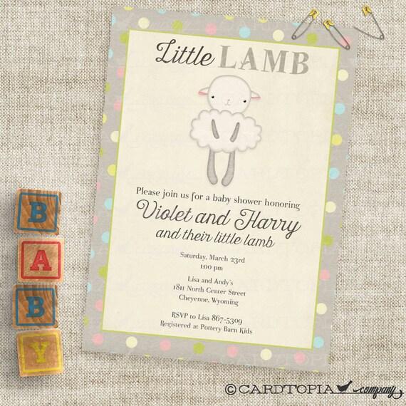 Gender neutral little lamb baby shower invitations baby girl etsy image 0 filmwisefo