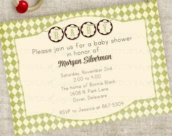 Banner Baby Shower Invitation Boy or Girl Gender Neutral Green Harlequin Diamonds Digital Printable Personalized