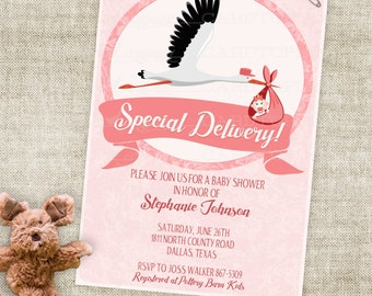 Stork and Baby Girl Baby Shower Invitation with Pink Roses and Banner Digital Printable File with Professional Printing Option - Cardtopia
