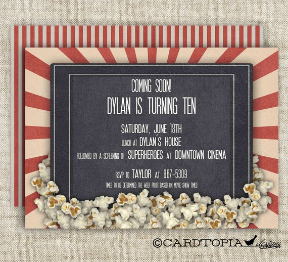 Movie Theater Birthday Party Invitations Girl Or Boy Printable Etsy