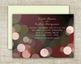 Bokeh BRIDAL SHOWER INVITATIONS Custom Digital Printable Cards - 90576763