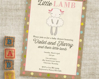 Little Lamb Pink and Brown Baby Shower Invitations Baby Girl Lamb Custom Invites with Professional Printing Option