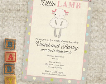 Lamb Baby Shower Invitations Baby Girl Little Lamb Digital Printable File with Professional Printing Option - Cardtopia