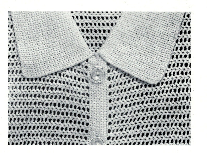 Crochet Blouse with Collar Small Size Summer Cotton Top Pattern Vintage Crochet Pattern for Ladies Contemporary adaptation by FeltSoapGood