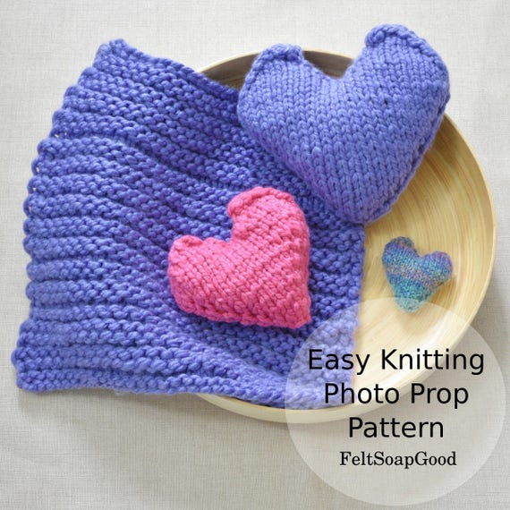 Accent Pillow Heart Pattern Beginners Knitting Pattern Flat Etsy