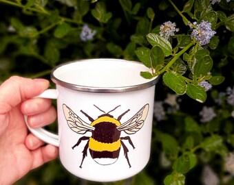 Bee, Enamel Mug, Camping Mug, Picnic Mug, Bee Mug, Bee Gift, Bee lover Gift, Tea Mug, Coffee Mug, Nature Gift, Nature lover, Gift, Gifts