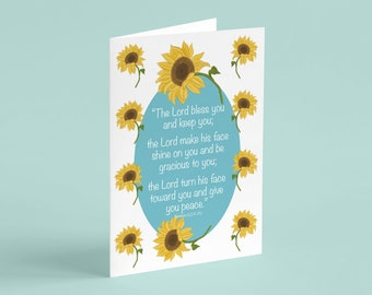 Sunflower Card, The Lord Bless You and Keep You, Numbers 6:24-26, Christian Card, Bible Verse, Scripture, Christian Cards, Blessing, Cards