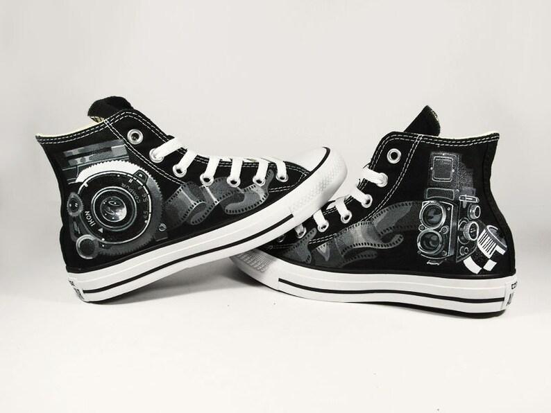 9e2c459ba0da Vintage Camera Shoes hand painted custom converse Black and
