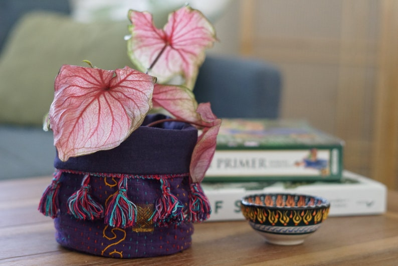 Four Inch Indoor Plant Fabric Pot / Plant Basket image 0