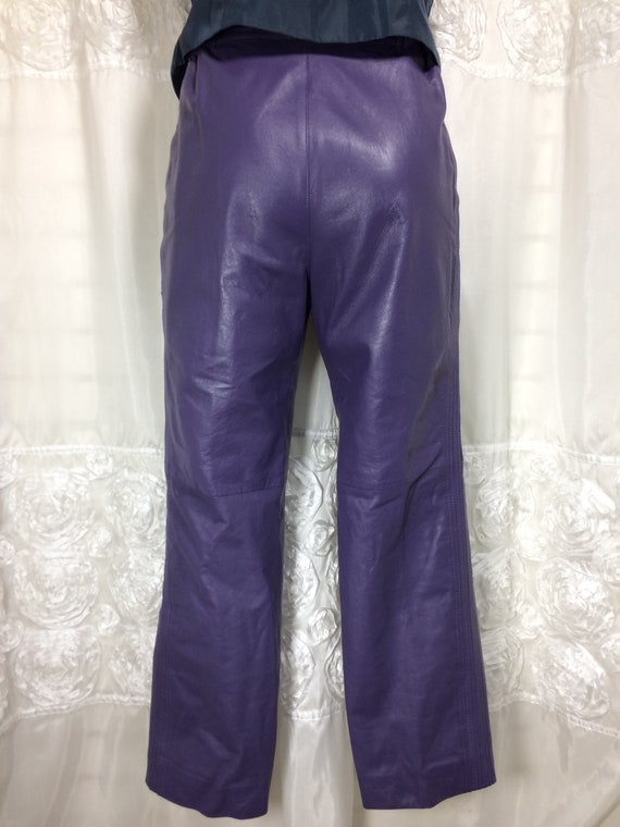 80's Purple Leather Lined Pants hi-waist size 30''