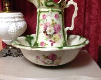 Antique Pink & Green Washbowl and Pitcher