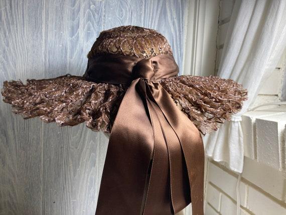 Vintage G.Howard Hodge Brown Cartwheel Hat
