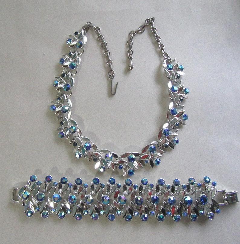 1950/'s Blue Rhinestone Choker Necklace Bracelet Set Smaller Wrist 6 12 Mid Century Vintage Costume Jewelry MoonlightMartini