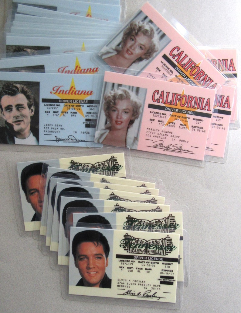 Mariyln Monroe Elvis Presley 1990/'s Souvenir Driver License Lot 25 Pieces James Dean Gag Novelty Gift Birthday MoonlightMartini
