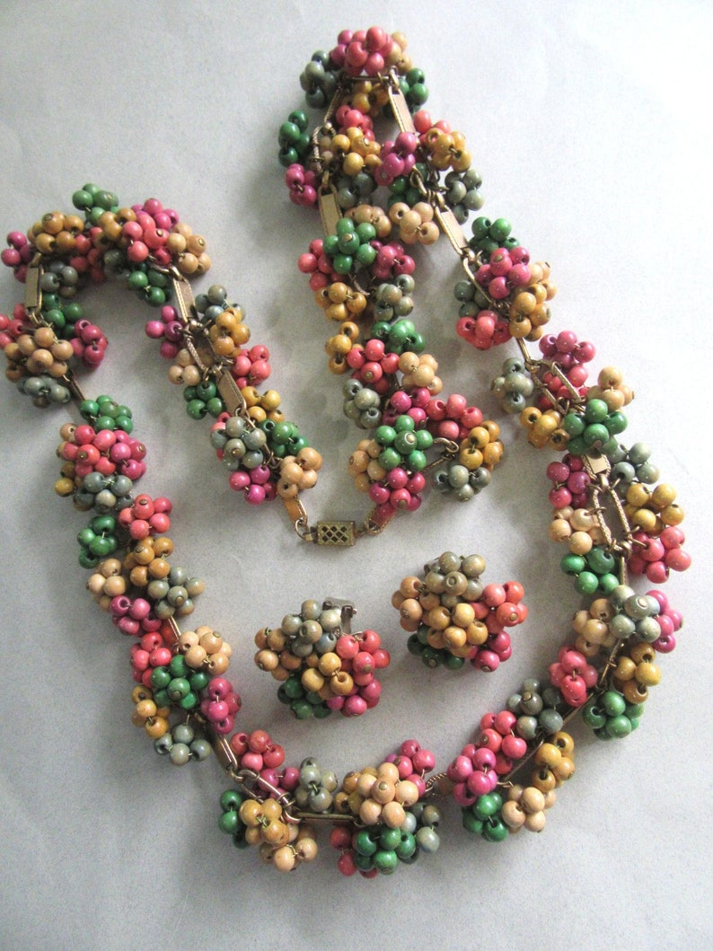 Unsigned 1940/'s Miriam Haskell Frank Hess Wood Multi Color Book Chain Necklace Earrings Set Vintage Costume Jewelry MoonlightMartini