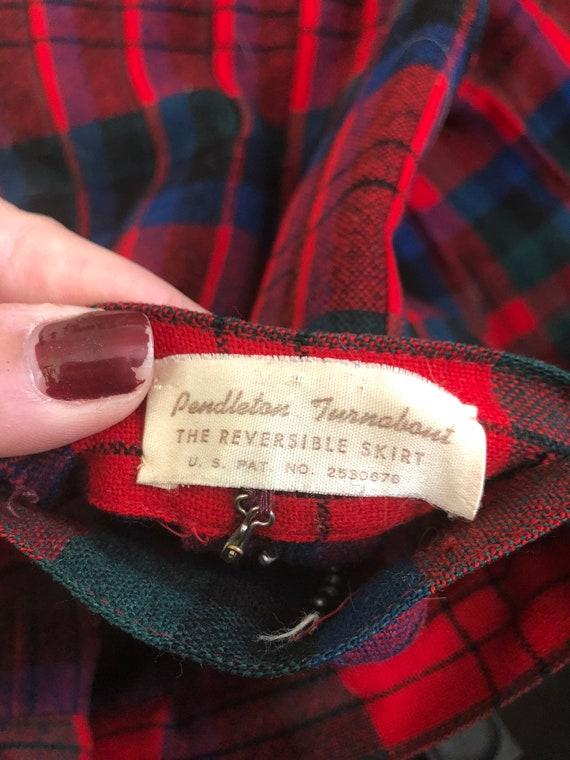 Pendleton wool plaid reversible skirt pleated pla… - image 6