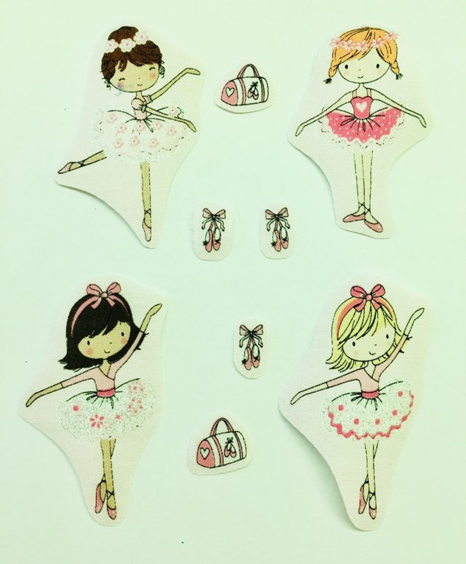 ballerina iron on patch ballerina fabric applique motifs. set of iron on transfers/sew on motifs fabric embellishments ballet mo