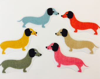 Sausage Dog Iron on Applique Patches Applique Fabric Motifs Iron on or Sew on patches/embellishments/transfers Puppy Dog Motif