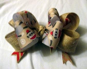 Sock Monkey Christmas Bow