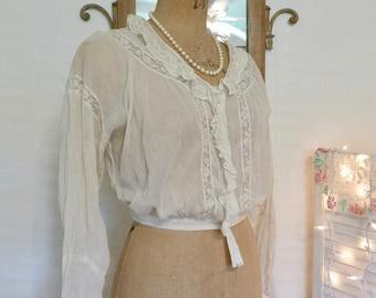 1c7989ebe34ea1 Edwardian Blouse Lace Inset Semi Sheer Shirt waist Cropped Blouse vintage  handmade Victorian Blouse Delicate Fine Linen Voile ecru