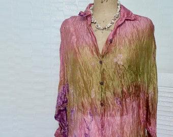 Tie Dye Long Sleeve Blouse Semi Sheer Crinkle Silk Watercolor Look Pink Green Festival Wear Cover UP