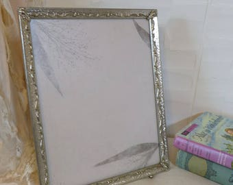 Vintage Silver tone Frame with non glare glass Metal Embellished footed picture photo frame Vintage 60s  8 by 10