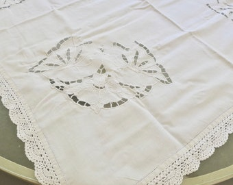 """Beige Ivory Embroidered Cotton Polyester 45x45/"""" Embroidery Cutwork Tablecloth"""