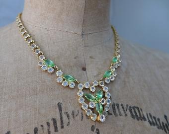 Rhinestone Choker Necklace Vintage 1950s Wedding Prom Formal Costume Jewelry