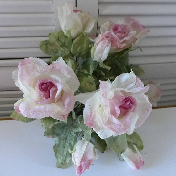 Silk Flowers 80s Roses White Pink Edges Artificial Rose Bouquet Fake ...