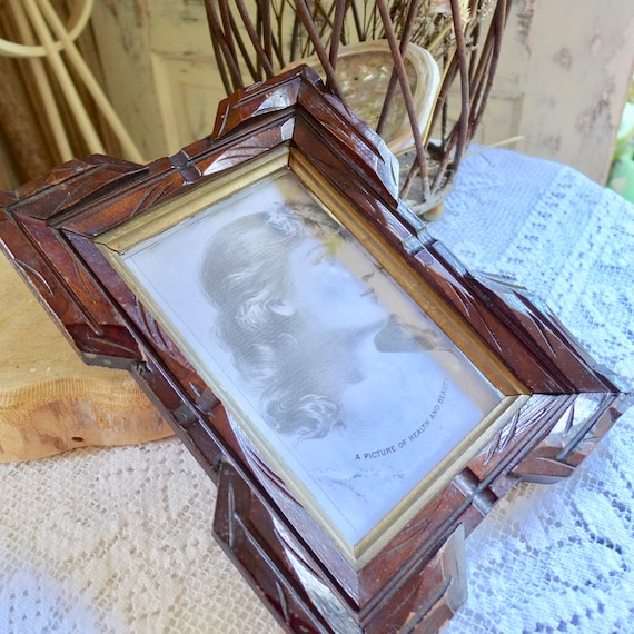 Wood Picture Frame Arts And Crafts Style Handmade Carved Frame Etsy