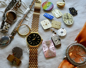 Watch Parts Jewelry Supply Vintage Destash Lot watch faces, bands case for Crafting DIy Projects Mixed Lot