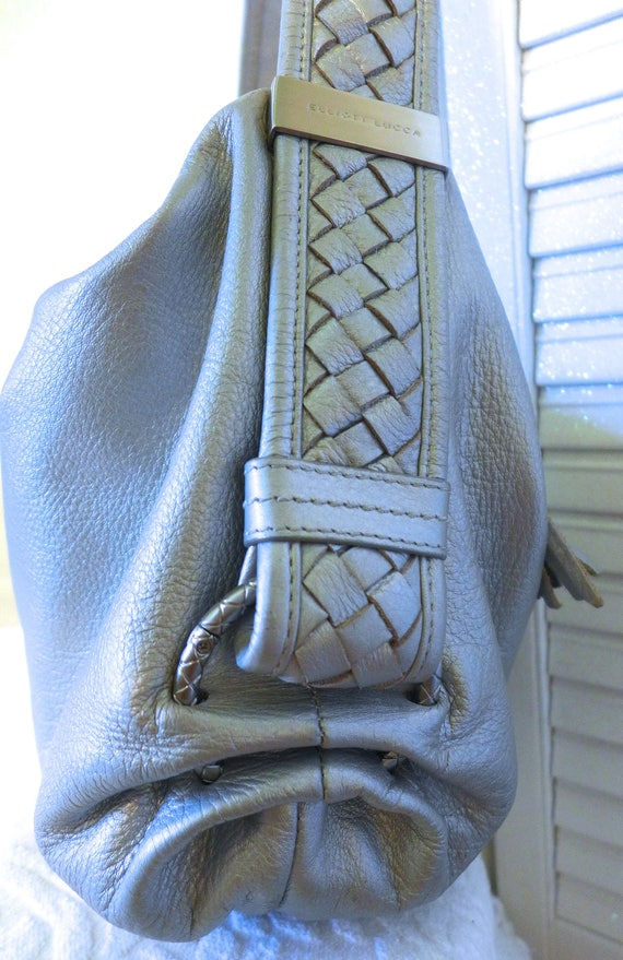 Silver Leather Hobo Purse Elliott Lucca Metallic Shoulder  0127c6b84eec2