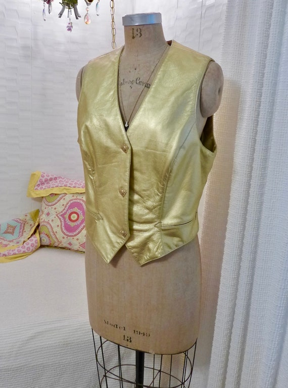 Gold Leather Vest Michael Hoban North Beach 80s Vi