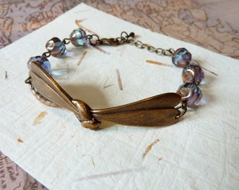 dragonfly by | vintage style nature inspired bracelet with purple-grey beads