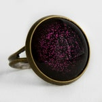 Purple Potion Ring in Antique Bronze - Bright Violet Purple Glitter Halloween Cocktail Ring