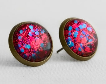 Fire and Ice Post Earrings in Antique Bronze - Red and Blue Small and Large Hexagonal Chunky Glitter Stud Earrings