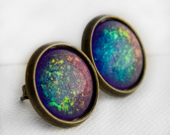 Supernova Post Earrings in Antique Bronze - Purple & Rainbow Holographic Earrings