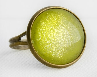 Pear Shimmer Ring in Antique Bronze - Light Lime Green Cocktail Ring with Gold Shimmery Sparkles