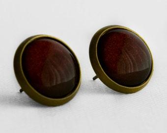 Mulled Wine Post Earrings in Antique Bronze - Deep Crimson Oxblood Red Halloween Stud Earrings