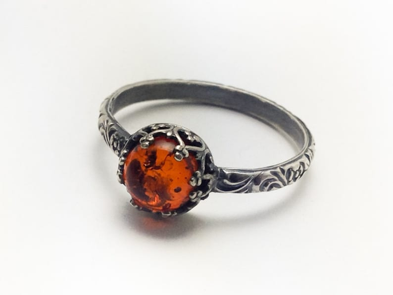 Natural Amber Ring Sterling Silver Amber Ring Custom created image 0