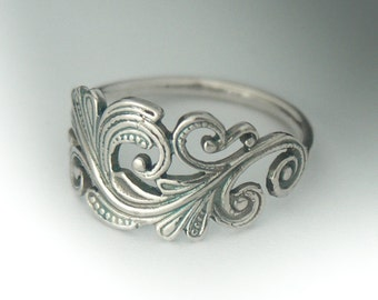Swirl Scroll Ring, Classic Sterling Silver Art Nouveau Ring, Swirl Scroll Jewelry, Sterling Silver Ring, Ring, Antique Style Ring, Gift