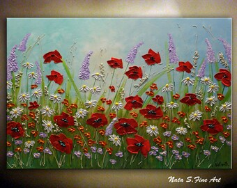 Wildflower Painting, Poppy Daisy Painting, Abstract Meadows, Contemporary Art, Colorful Painting, Modern Floral Art, Large Wall Art by Nata
