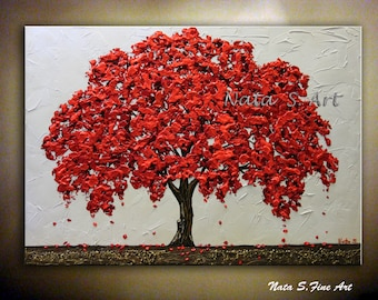 Fall Tree Painting, Blossom Tree Art, Tree of Life, Abstract Tree Art, Textured Tree Art, Abstract Landscape, Large Wall Art by Nata